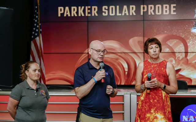 Alex Young, solar scientist at NASA's Goddard Space Flight Center (middle), Nicola Fox, Parker Solar Probe project scientist at Johns Hopkins Applied Physics Laboratory (APL) (right), and Betsy Congdon, Parker Solar Probe Thermal Protection System lead engineer at APL (left), speak during a preview briefing on the NASA's Parker Solar Probe at NASA's Kennedy Space Center in Florida, US, Jul 20, 2018. Reuters