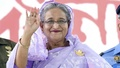 Prime Minister Sheikh Hasina waves to a crowd at a reception organised in her honour by the Awami League at Dhaka's Suhrawardy Udyan on Saturday.