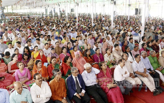 People attend the reception programme organised in honour of Prime Minister Sheikh Hasina by the Awami League at Dhaka's Suhrawardy Udyan on Saturday.