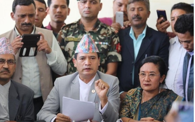 Sher Bahadur Tamang announcing his resignation as the law minister of Nepal. Photo: Courtesy of the Kathmandu Post