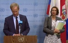 UNSC President Olof Scoog and UN Secretary-General's Special Envoy Christine Schraner Burgener at a press conference after the briefings.