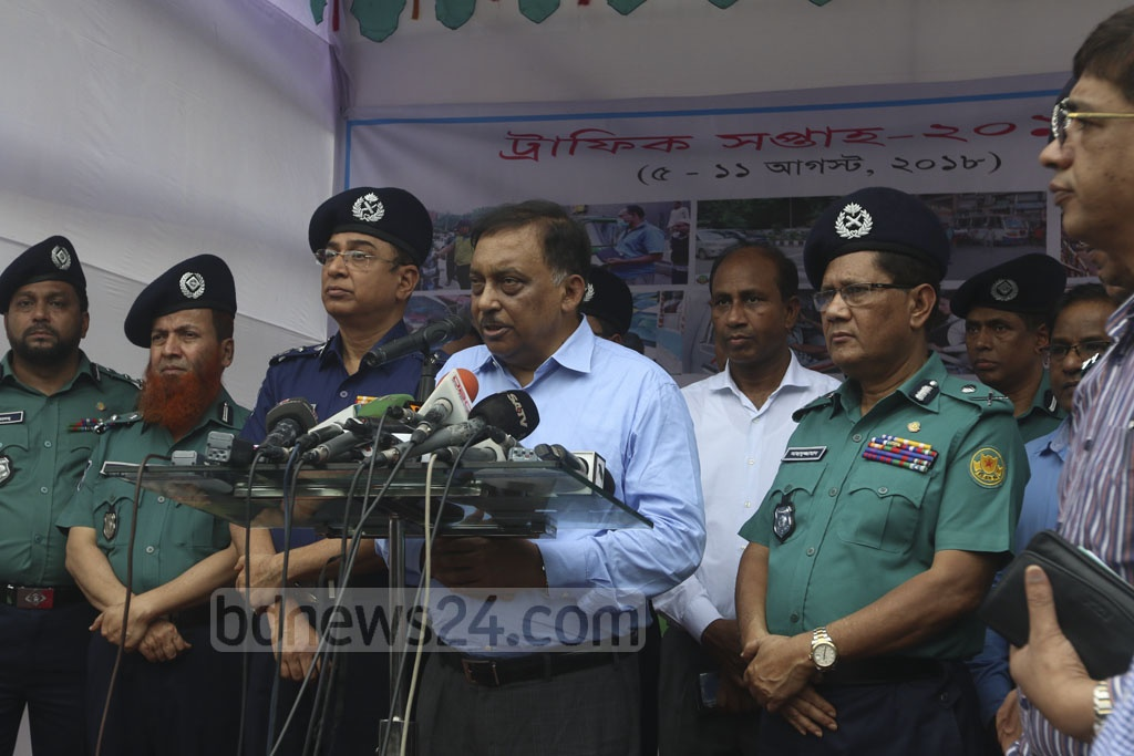 Home Minister Asaduzzaman Khan attends the inaugural programme for 'Traffic Week' on Sunday. Photo: Abdullah Al Momin