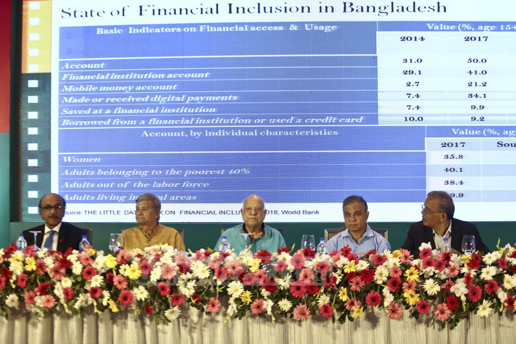 "Finance Minister Abul Maal Abdul Muhith at a workshop titled ""National Financial Inclusion Strategy of Bangladesh"" organised by the finance ministry and Bangladesh Bank in Dhaka on Thursday. Photo: Mahmud Zaman Ovi"