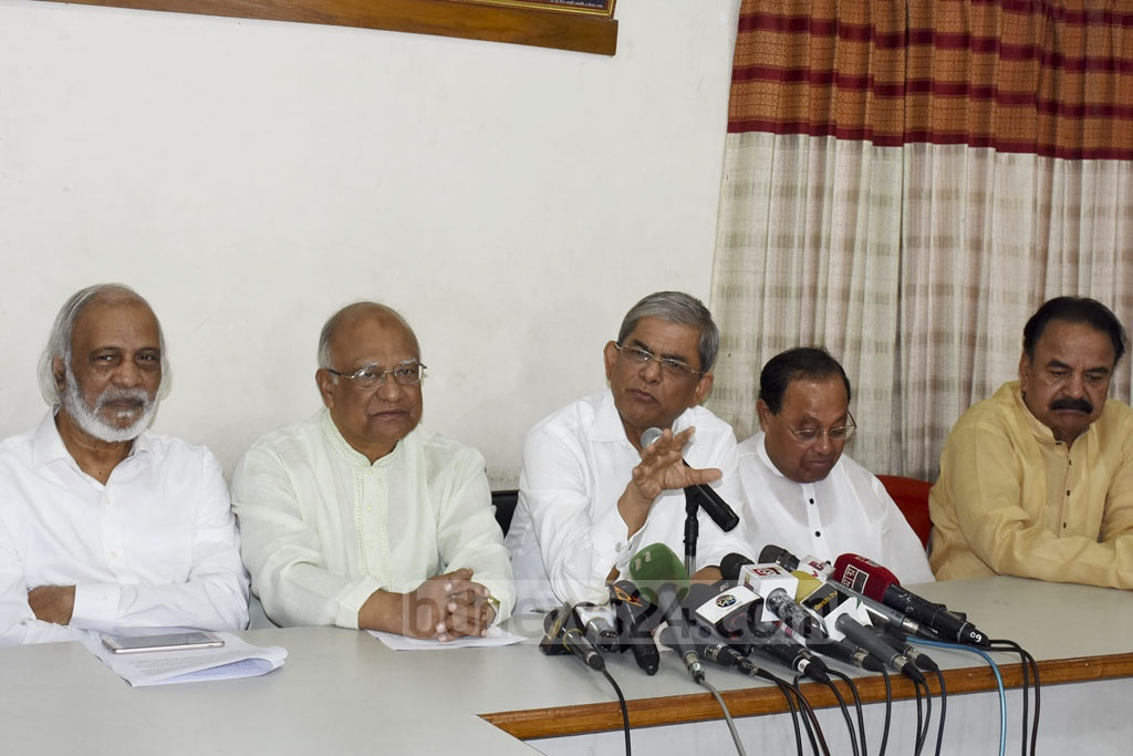BNP Secretary General Mirza Fakhrul Islam Alamgir briefs the media at the party's headquarters in Dhaka's Naya Paltan on Friday.