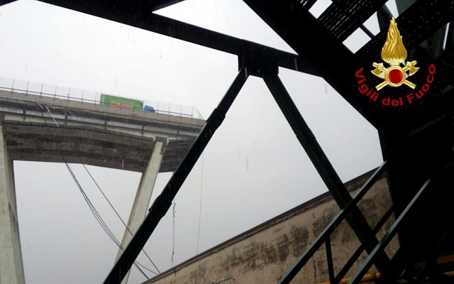 A motorway bridge which collapsed on Tuesday near the northern Italian port city of Genoa is seen in this picture released by Italian firefighters on Aug 14, 2018. Reuters