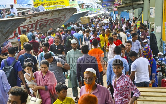 Dhaka's Sadarghat launch terminal was packed with people on Saturday as thousands headed home to observe the Eid with their relatives.