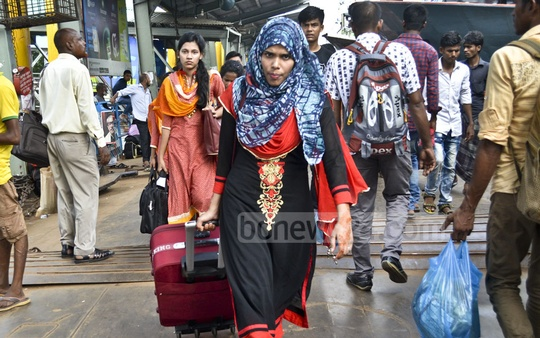 Dhaka's Sadarghat launch terminal was packed with passengers on Saturday as thousands headed home to observe the Eid with their relatives.