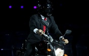An actor impersonating Indonesia's President Joko Widodo rides a motorbike. 2018 Asian Games – Opening ceremony - GBK Main Stadium – Jakarta, Indonesia – August 18, 2018. Reuters