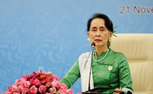 Myanmar State Counselor Aung San Suu Kyi speaks during a news conference at the Asia Europe Foreign Ministers (ASEM) in Naypyitaw, Myanmar, Nov 21, 2017. Reuters