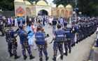 Strict security measures were in place in the National Eidgah area on Wednesday morning. Photo: Mostafigur Rahman