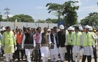 Road Transport and Bridges Minister Obaidul Quader visits the construction site of a tunnel under the Karnaphuli river in Chattogram's Patenga on Saturday. Bangladesh is building the $10.56 billion tunnel with China's help. The 3.4km tunnel will have four lanes in two tubes.