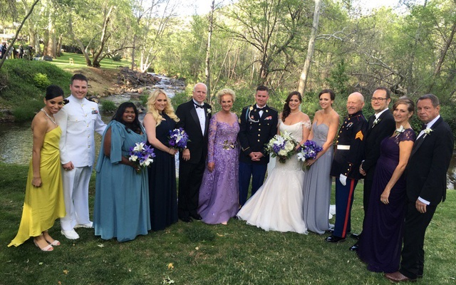 Bridget McCain (3rd from left) in a family photo during Jimmy's marriage ceremony. Photo: Cindy McCain's Twitter page.