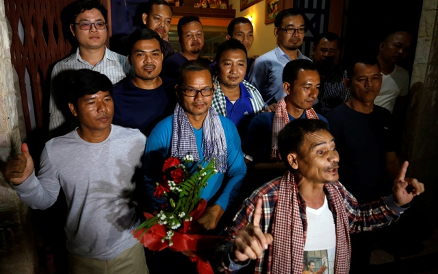 Members of the dissolved opposition Cambodia National Rescue Party, pose for a picture after they were released from jail by King Norodom Sihamoni's pardon in Phnom Penh, Cambodia, Aug 28, 2018. REUTERS