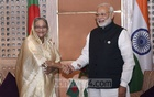 File Photo: Prime Minister Sheikh Hasina and her Indian counterpart Narendra Modi shake hands before a meeting on the sidelines of the Fourth BIMSTEC Summit in Nepal's Kathmandu on Aug 30, 2018.