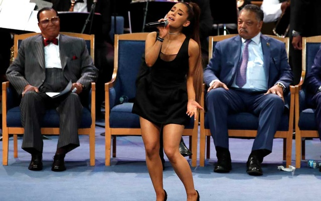 Singer Ariana Grande performs at the funeral service for the late singer Aretha Franklin at the Greater Grace Temple in Detroit, Michigan, US, Aug 31, 2018. Reuters