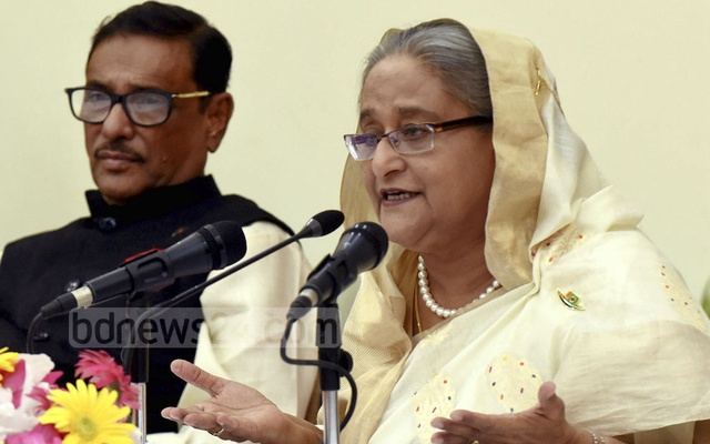 Prime Minister Sheikh Hasina briefing the media at the Ganabhaban on Sunday about her recent tour to Nepal to attend the Fourth BIMSTEC Summit. Photo: Saiful Islam Kallol