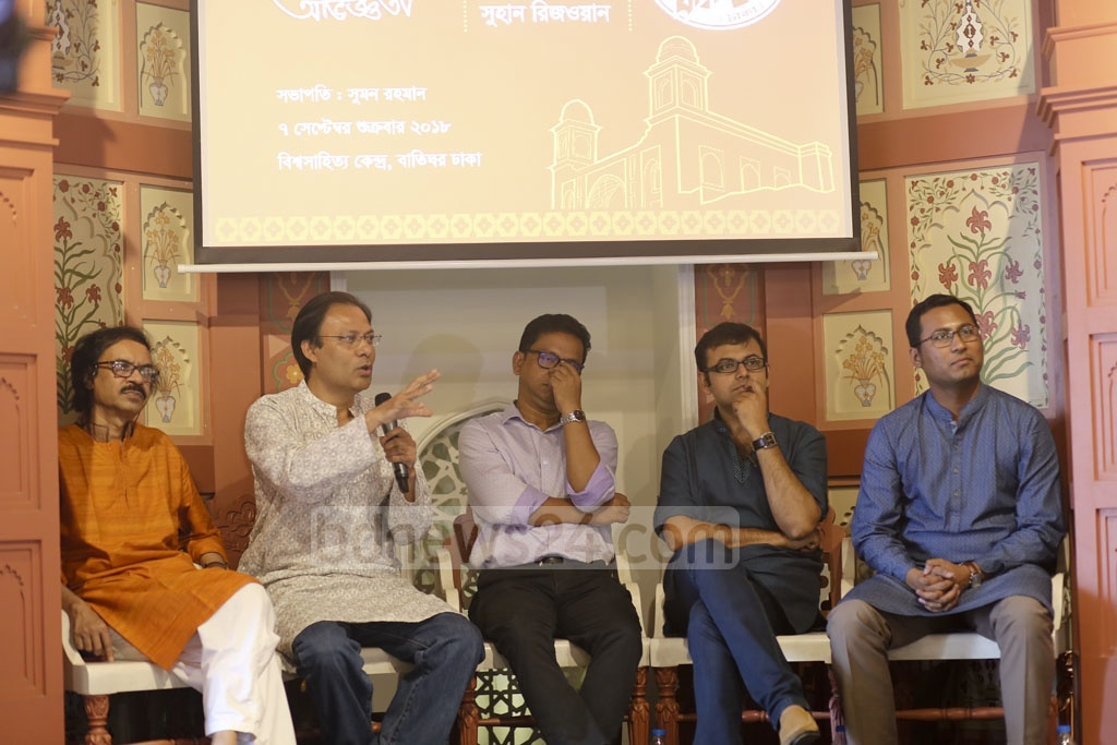 Writers shared their experience on biographical novel at a discussion at book superstore Baatighar's branch at Dhaka's Bishwo Shahitto Kendro Bhaban on Friday. Photo: Mahmud Zaman Ovi