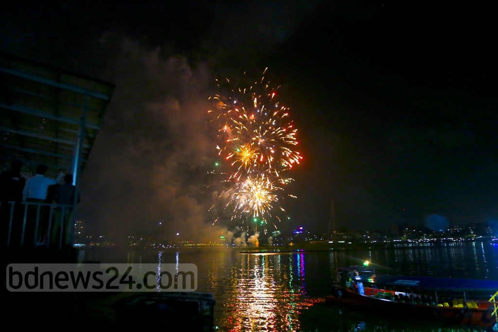 The government is celebrating Power and Energy Week with the slogan – 'Anirban Agami' or 'The Inextinguishable Future'. A fireworks and laser show was organised at the Hatirjheel in Dhaka as part of the celebrations on Friday. Photo: Mahmud Zaman Ovi