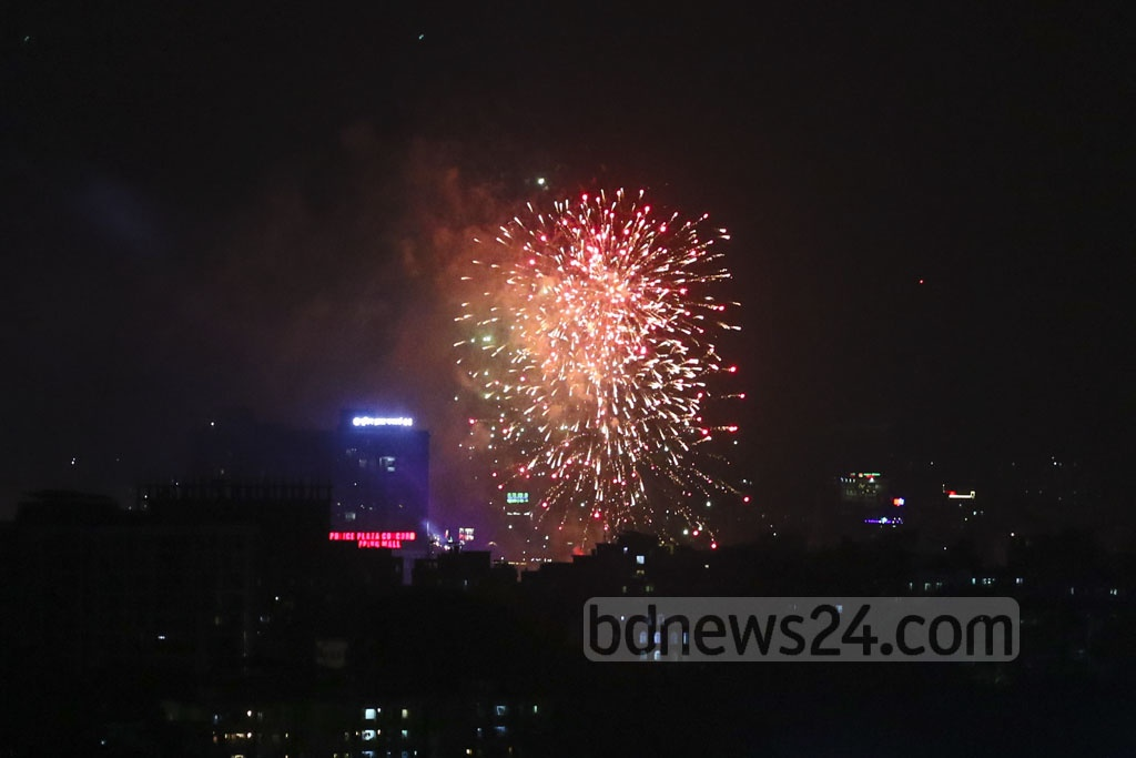 The government is celebrating Power and Energy Week with the slogan – 'Anirban Agami' or 'The Inextinguishable Future'. A fireworks and laser show was organised at the Hatirjheel in Dhaka as part of the celebrations on Friday. Photo: Abdullah Al Momin