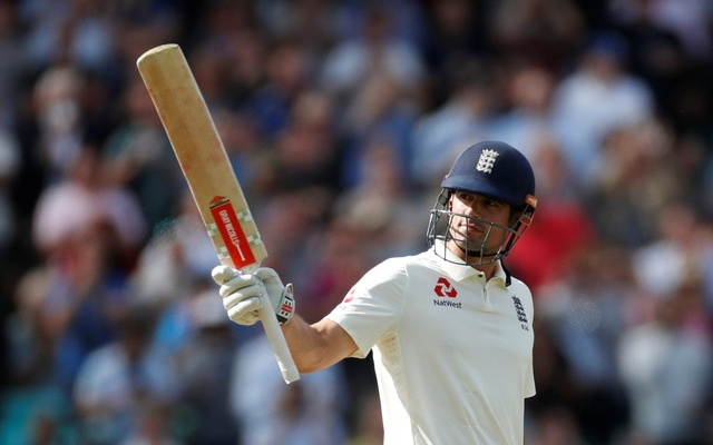 England's Alastair Cook celebrates after reaching a half century. Cricket - England v India - Fifth Test - Kia Oval, London, Britain - September 7, 2018. Action Images via Reuters