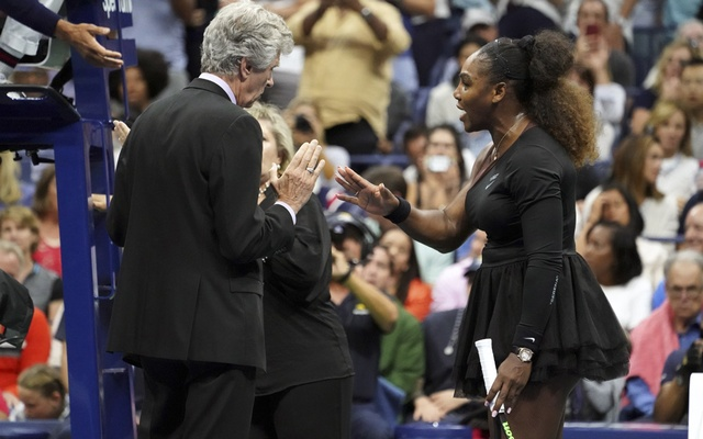 Serena Williams speaks to the tournament officials during her US Open final with Naomi Osaka of Japan, at Arthur Ashe Stadium in New York, Sept. 8, 2018. Osaka won her first US Open, 6-2, 6-4; She is Japan's first Grand Slam singles champion. Michelle V Agins/The New York Times