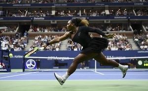 Serena Williams lunges for a shot during her US Open final with Naomi Osaka of Japan, at Arthur Ashe Stadium in New York, Sept 8, 2018. Ben Solomon/The New York Times