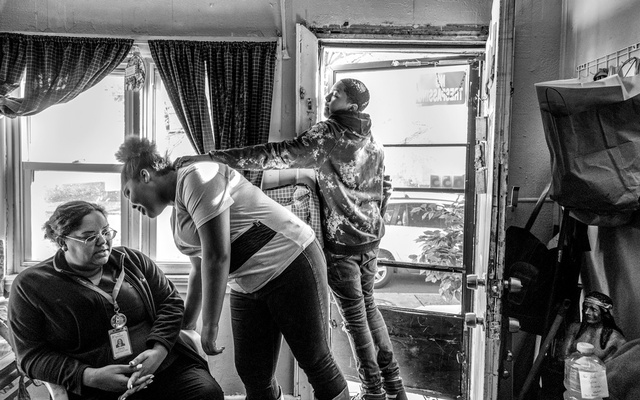 Vanessa Solivan at her mother's house with Tatiyana and Shamal. The New York Times