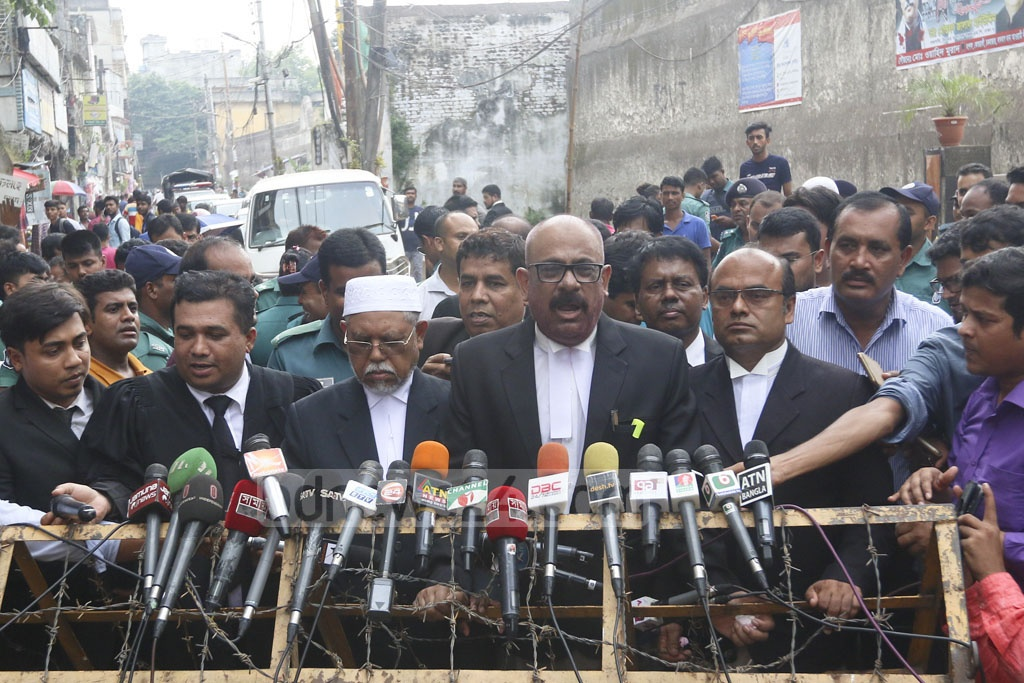 ACC lawyer Mosharraf Hossain Kajol speaks to the media about the Zia Charitable Trust graft case outside the jailhouse on Nazimuddin Road in Old Dhaka on Wednesday. Photo: Abdullah Al Momin