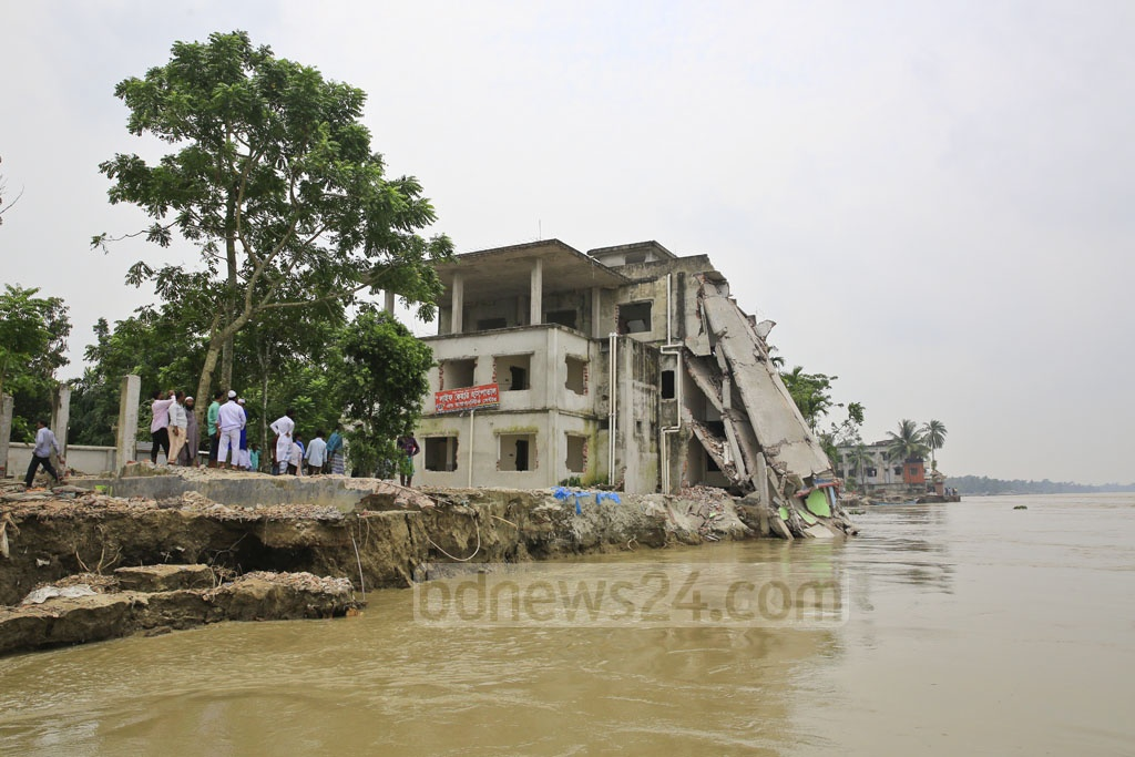 The Mulfatganj Life Care Hospital building sinks as the river erodes its banks. Photo: Mostafigur Rahman