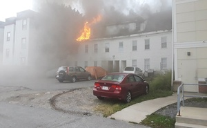 A building burns after explosions in Lawrence, Massachusetts, United States in this Sep 13, 2018. Reuters