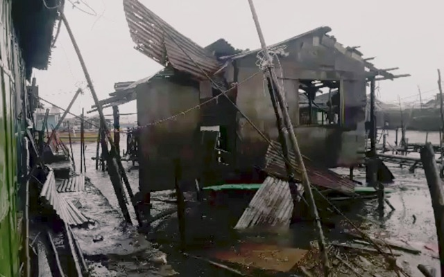 A damaged house is seen after Typhoon Mangkhut hits Philippines, Bolinao, Pangasinan, Philippines Sept 15, 2018 in this still image obtained from a social media video. Daeve Del Fierro via Reuters