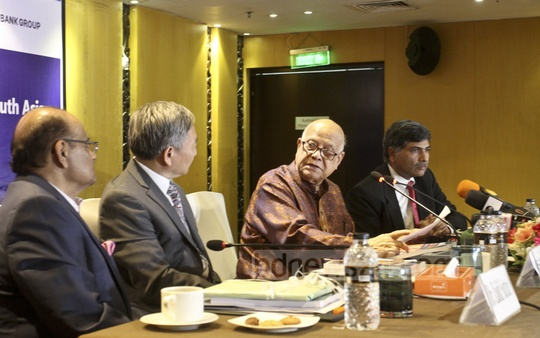 "Finance Minister Abul Maal Abdul Muhith attends the launch of a World Bank report, titled ""A Glass Half Full: The Promise of Regional Trade in South Asia"" by economist Sanjay Kathuria at the Amari hotel in Dhaka on Wednesday. Photo: Asif Mahmud Ove"