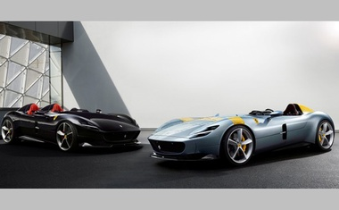 Ferrari's new Monza SP1 and SP2 cars are seen in this picture released by Ferrari press office during a meeting in Maranello, Italy, September 18, 2018. Picture taken July 29, 2018. Ferrari Press Office/Handout via REUTERS