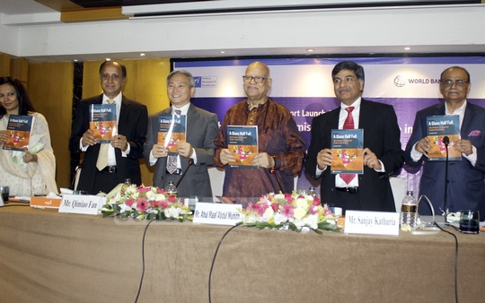 "Guests attend the launch of a World Bank report, titled ""A Glass Half Full: The Promise of Regional Trade in South Asia"", edited by economist Sanjay Kathuria, at the Amari hotel in Dhaka on Wednesday. Photo: Asif Mahmud Ove"
