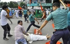 Police foiled at the Karwan Bazar's SAARC Fountain intersection a march taken out by the Left Democratic Alliance from the National Press Club which was headed towards the Election Commission office in Dhaka on Thursday. Several activists were injured.