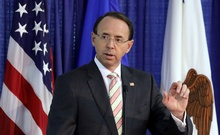 Deputy US Attorney General Rod Rosenstein speaks during the Bureau of Justice Assistance's rollout for the