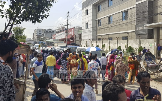 Workers of a garment factory demonstrated blocking the Dhaka-Mymensingh Highway in Gazipur on Sunday for payment of arrears.
