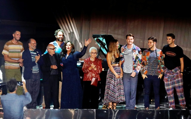 The Missoni family acknowledges the audience at the Missoni show during Milan Fashion Week Spring 2019 in Milan, Italy Sep 22, 2018. Reuters