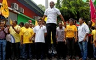Ibrahim Mohamed Solih, Maldivian presidential candidate backed by the opposition coalition, jumps next to his supporters during the final campaign rally ahead of the presidential election in Male, Maldives September 22, 2018. Reuters