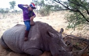 In a photo provided by Julian Rademeyer, a Thai woman, who was hired to hunt rhino in South Africa, poses with her trophy in Nov 2010. The New York Times