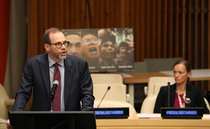 Reuters Editor-in-Chief Stephen Adler speaks during the Press Behind Bars: Undermining Justice and Democracy Justice event during the 73rd session of the United Nations General Assembly at UN headquarters in New York, US, September 28, 2018. Reuters