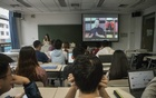 Students watch Feng Wuzhong's online lecture during a course on Maoist ideology at Tsinghua University in Beijing, May 20, 2018. The New York Times