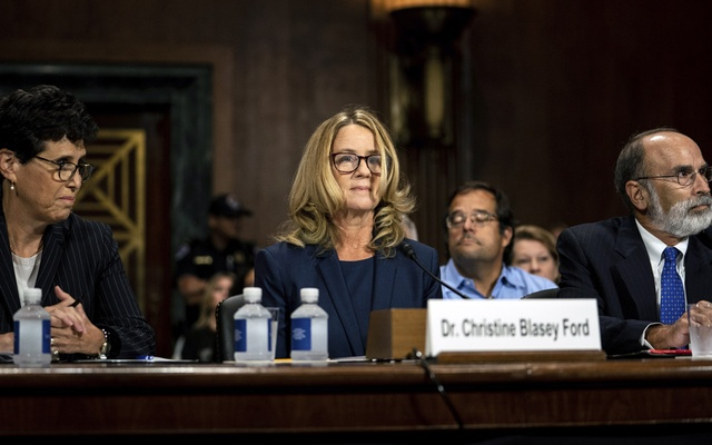 Christine Blasey Ford is flanked by her attorneys Debra Katz left and Michael Bromwich at a Senate Judiciary Committee hearing in Washington on Thursday Sept 27 2018. Blasey testified about her accusation that Judge Brett Kavanaugh President Trump