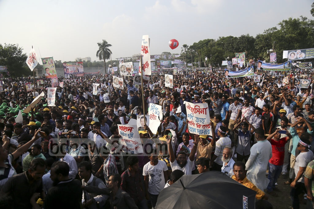 The BNP organised a rally at the Suhrawardy Udyan in Dhaka on Sunday to demand release of its jailed chief Khaleda Zia, withdrawal of cases against acting chief Tarique Rahman and elections under a neutral government. Photo: Mahmud Zaman Ovi