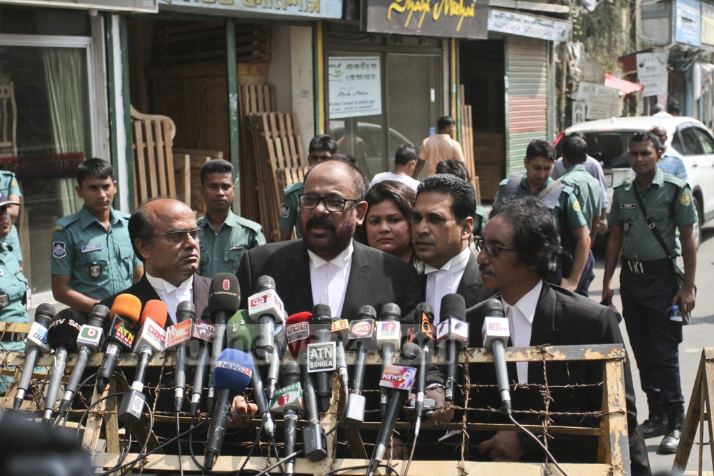 Anti-Corruption Commission lawyer Mosharraf Hossain speaks to the media after a hearing of the Zia Charitable Trust graft case at the temporary Special Judge's Court at the prison on Old Dhaka's Nazimuddin Road on Sunday. Photo: Asif Mahmud Ove