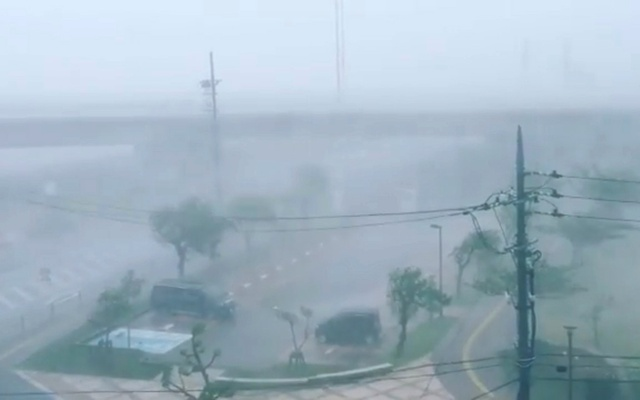Video grab shows heavy rain and wind caused by Typhoon Trami in Okinawa, Japan in this September 29, 2018 photo by @KAZU.KTOMSN. Instagram @KAZU.KTOMSN via Reuters