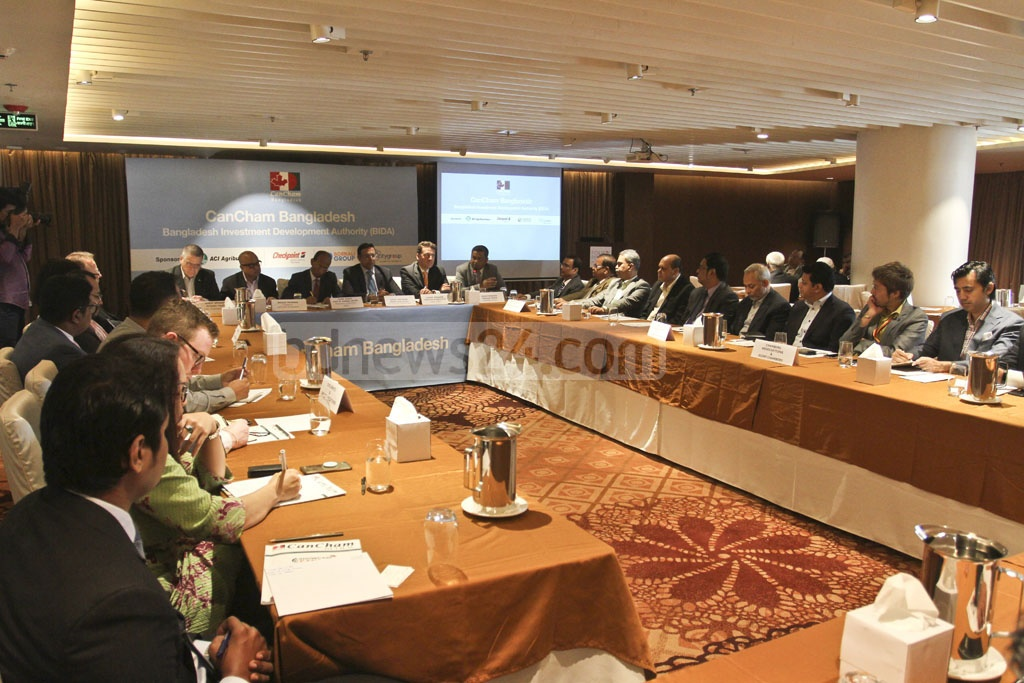 Guests at a discussion jointly organised by the Canada Bangladesh Chamber of Commerce and Industry and Bangladesh Investment Development Authority at a Dhaka hotel on Wednesday. Photo: Asif Mahmud Ove