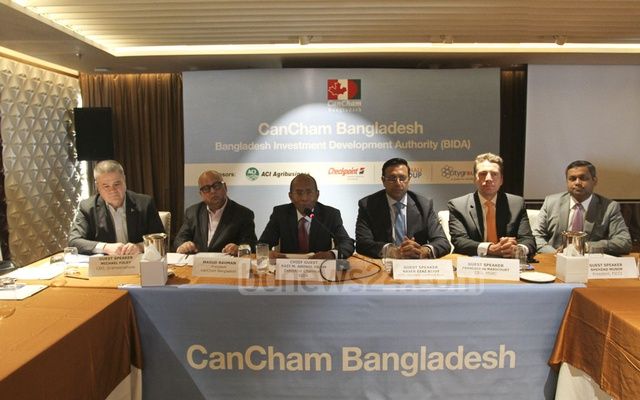 Kazi M Aminul Islam, Executive Chairman of Bangladesh Investment Development Authority, speaking at a discussion jointly organised by the Canada Bangladesh Chamber of Commerce and Industry and BIDA at a Dhaka hotel on Wednesday. Photo: Asif Mahmud Ove