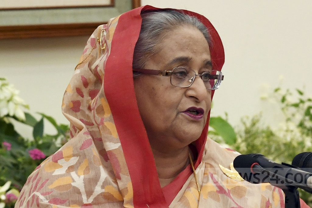 Prime Minister Sheikh Hasina speaking at a media briefing on her participation in the UN General Assembly at the Ganabhaban in Dhaka on Wednesday. Photo: PID