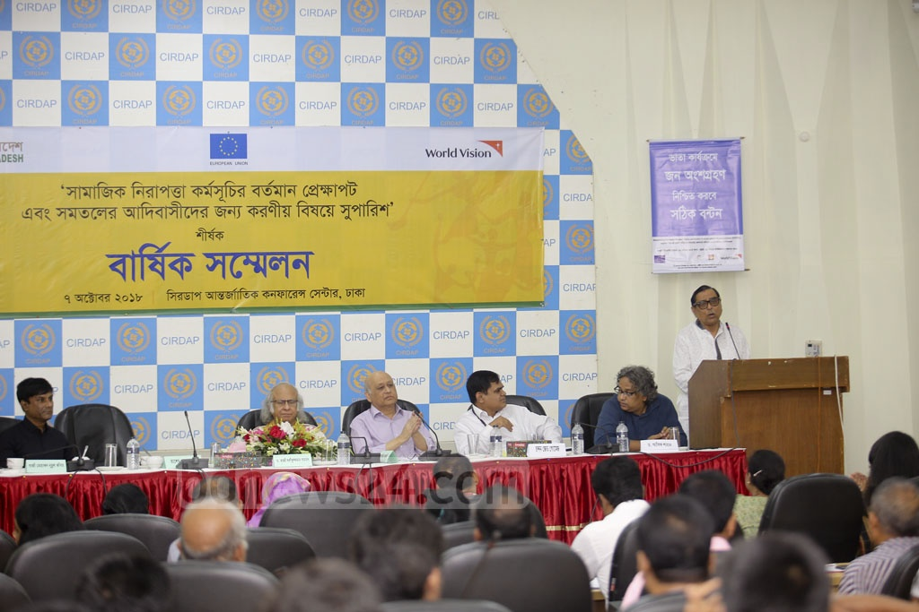 Minister for Social Welfare Rashed Khan Menon speaks at an event on social security programmes and steps that can be taken for flatland 'indigenous peoples' at a conference at Dhaka's CIRDAP auditorium. Photo: Mahmud Zaman Ovi